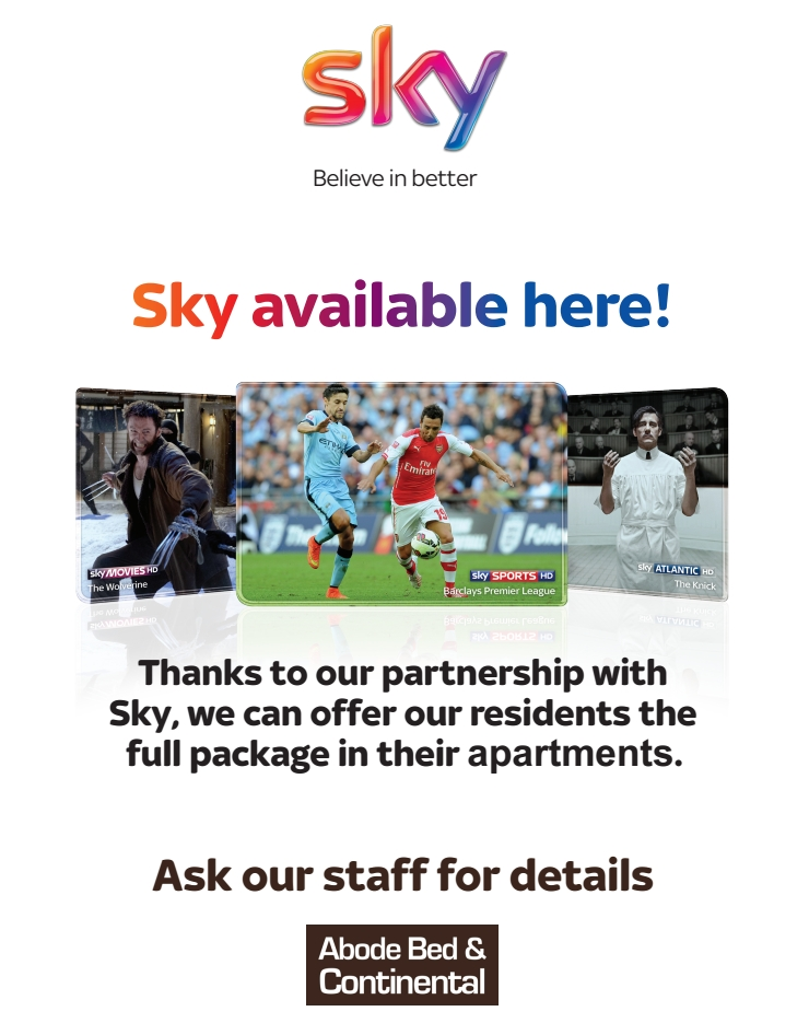 Sky+ in All Abodebed Serviced Apartments